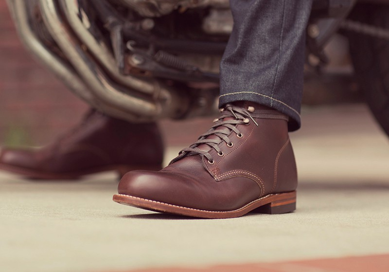 Motorcyclist wearing Wolverine Boots