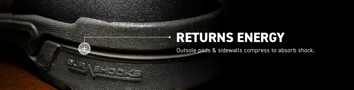 RETURNS ENERGY. Outsole pads & sidewalls compress to absorb shock.