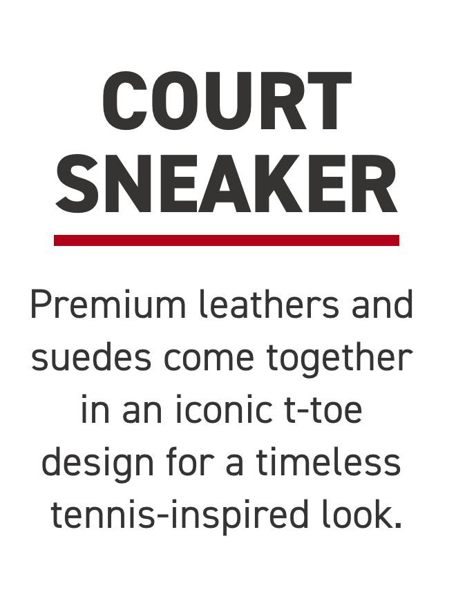 Premium leathers and suedes come together in an iconic t-toe design for a timeless tennis-inspired look.