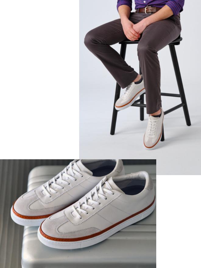 White BLVD Court Sneakers.