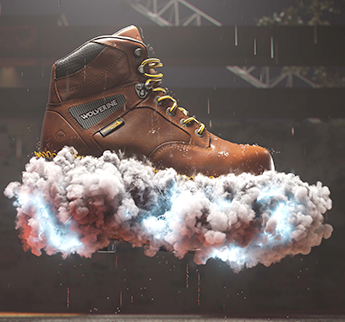Boot floating on a cloud of smoke.