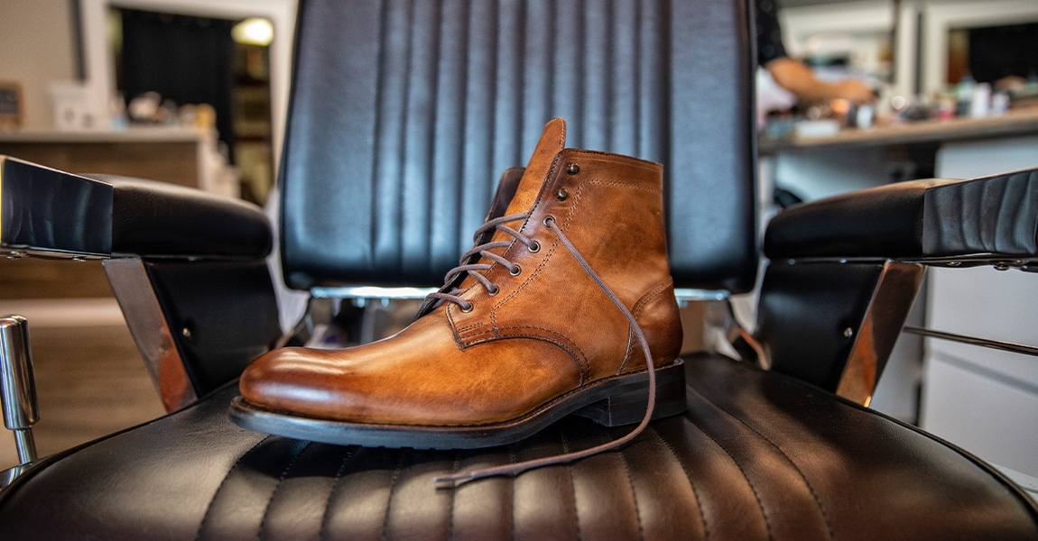 Wolverine BLVD Plain Toe in tan on a barber chair