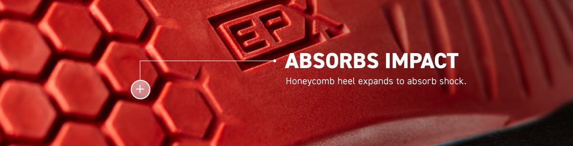 ABSORBS IMPACT. Honeycomb heel expands to absorb shock.