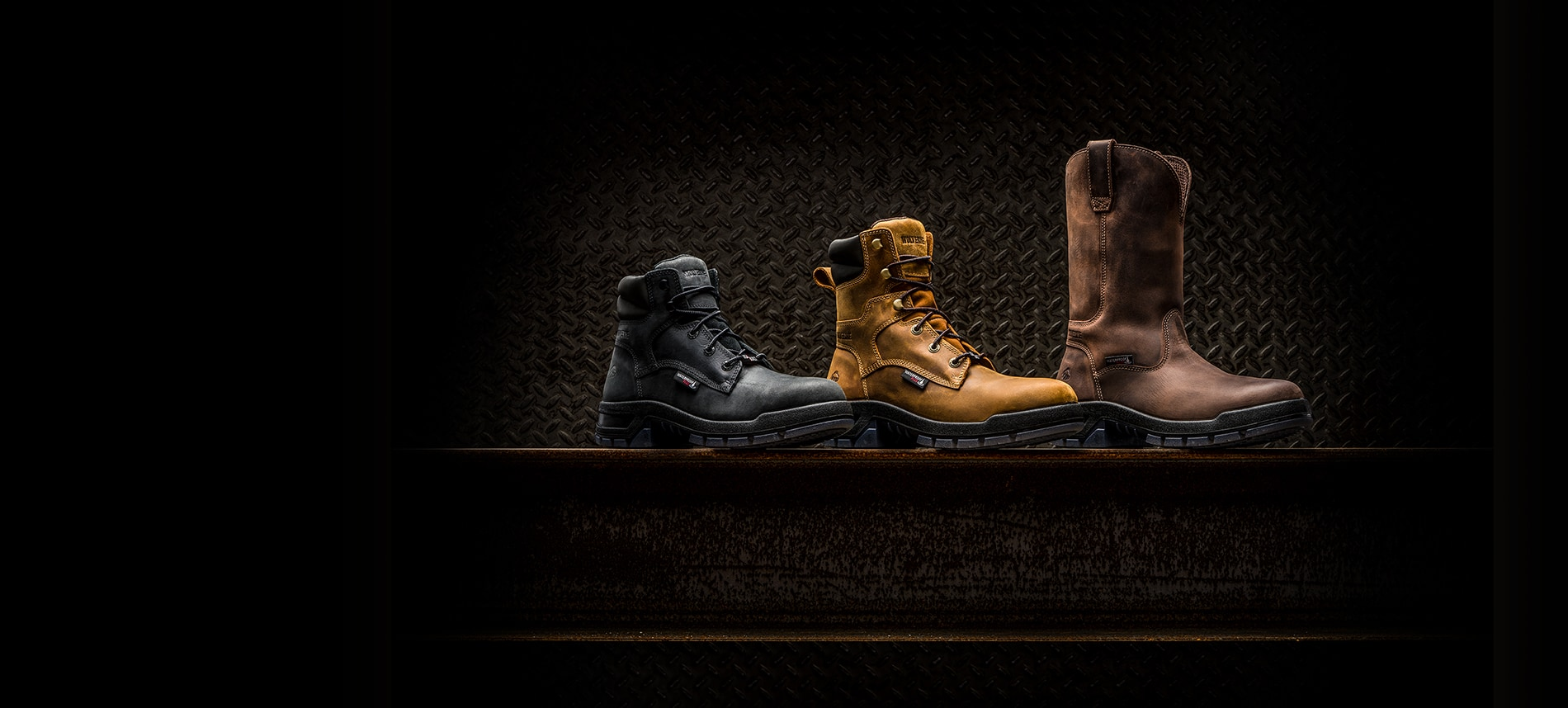 USA built Ramparts 3 boots on a black background