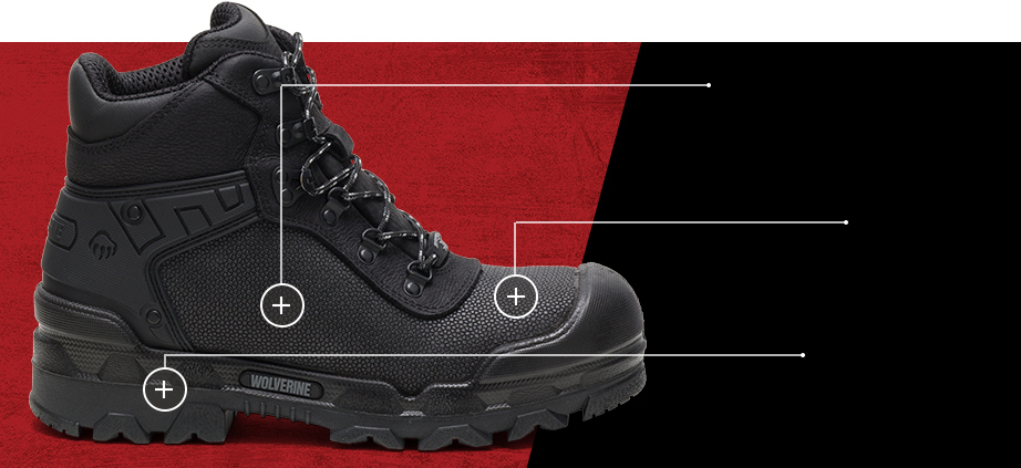 I-90 DuraShocks boots floating against a black background.