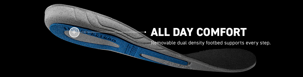 ALL DAY COMFORT. Removable dual density footbed supports every step.