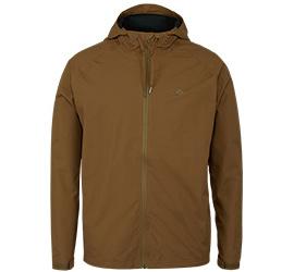 Brown zip-up rain jacket.