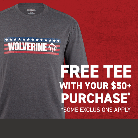Background image of a grey Wolverine logo t-shirt with stars and stripes