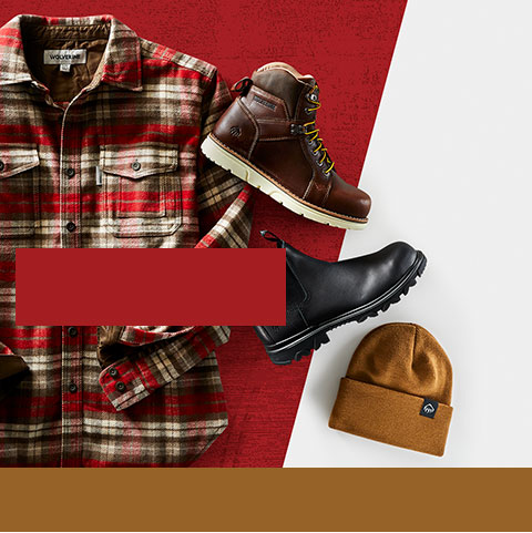 Wolverine flannel jacket and an assortment of boots and a winter hat.
