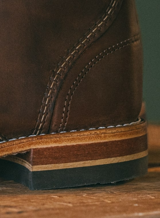 Close up shot of the heel of the 1000 Mile x Old Rips VanWinkle boot.