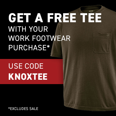 Wolverine, Get a free tee with your work footwear purchase.