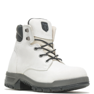White boot with black accents.