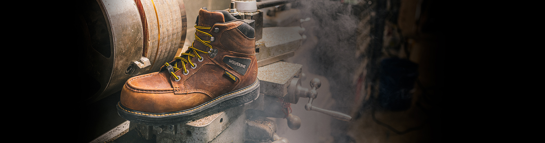 Wolverine Hellcat boot on a construction site.