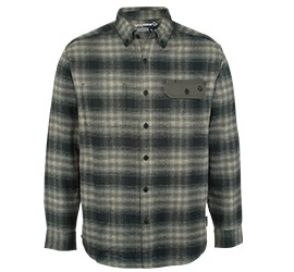 Long sleeve button down flannel shirt.