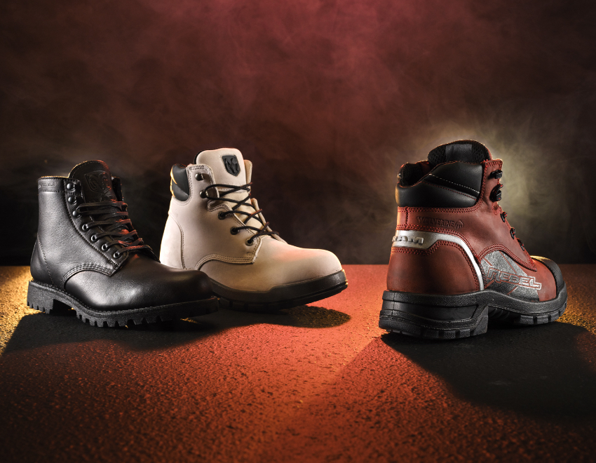 The boots of the Wolverine x Ram Trucks Collaboration Collection in low lighting.