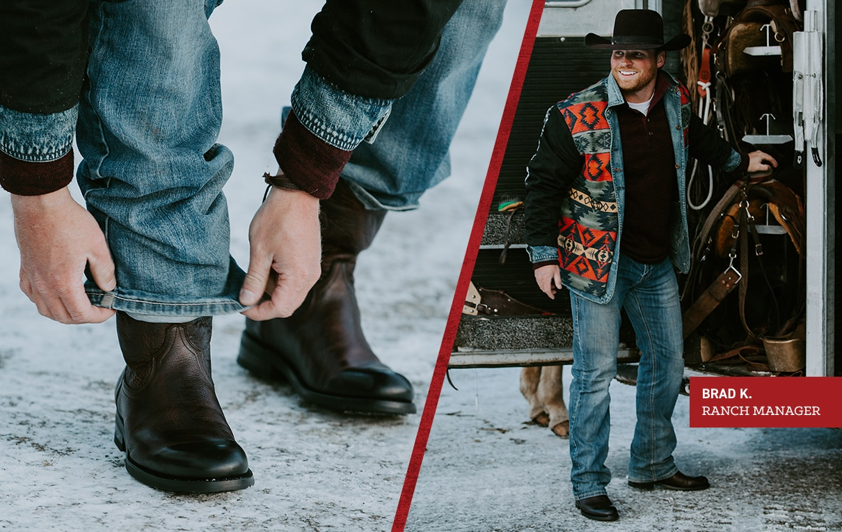 Brad K. Ranch Manager.  Brad is wearing black BLVD pull on boots.