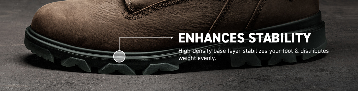 ENHANCES STABILITY. High-density base layer stabilizes your foot & distributes weight evenly.