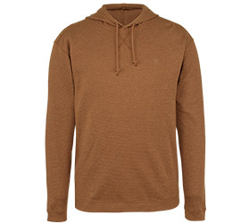 Brown hoodie with draw strings.