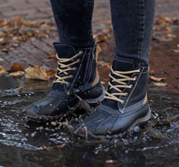 Boot splashing in a puddle.