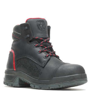 Black boot with red accents.