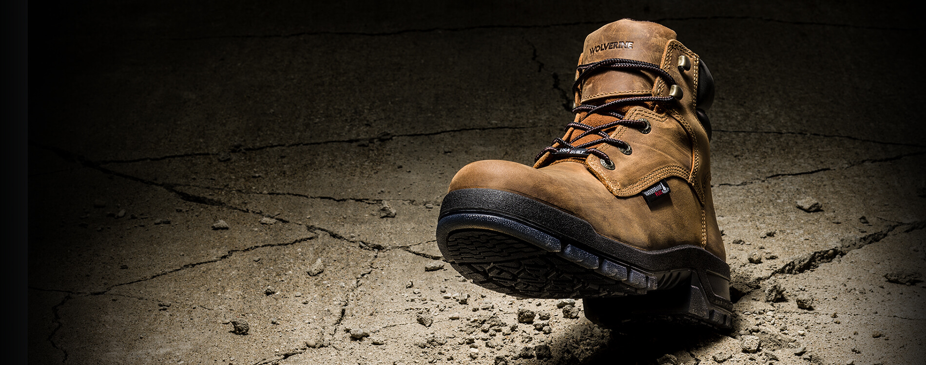 A boot cracks concrete with its heel!