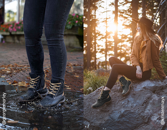 Model wearing the Torrent in urban and country settings.
