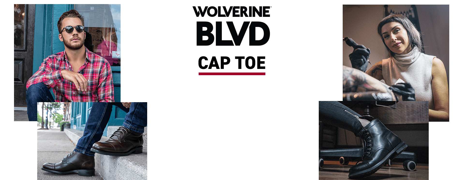 Collage of Wovlerine BLVD Cap Toe boots and a tattoo artist who wears them.