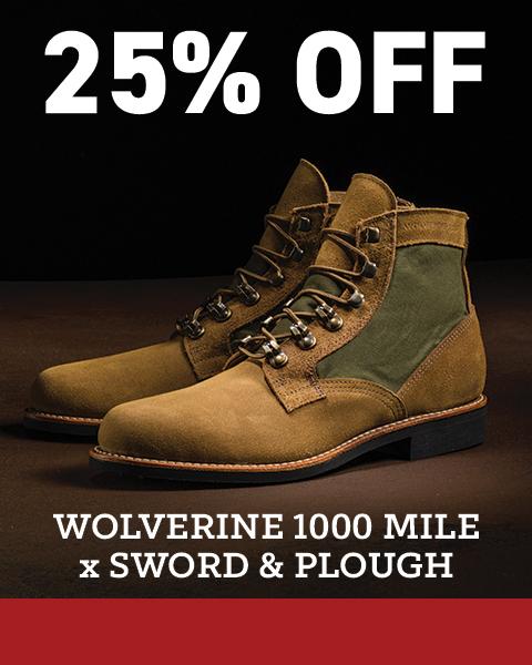 25% off Wolverine 1000 Mile x Sword & Plough