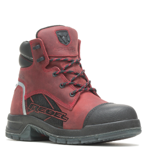 Red boot with black accents.