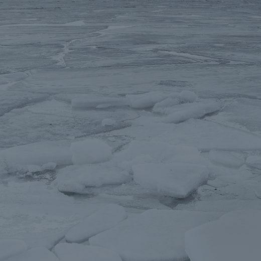 An icy lake.