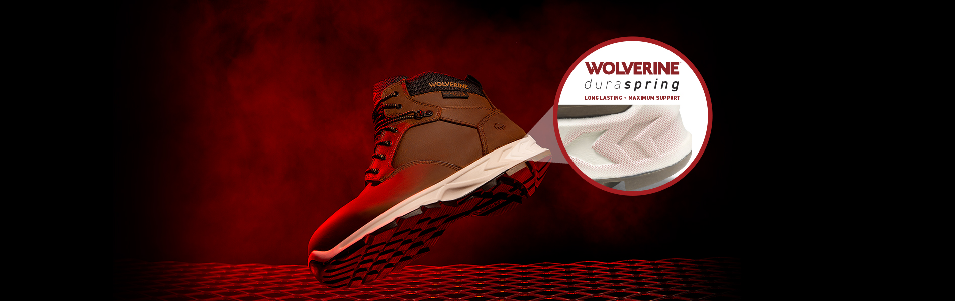 Wolverine boot floating against a red and black background with the Wolverine Duraspring heel highlighted.