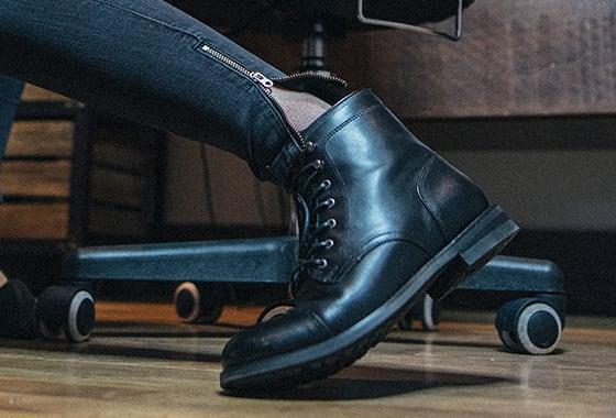 Erin's black BLVD Cap Toe boots