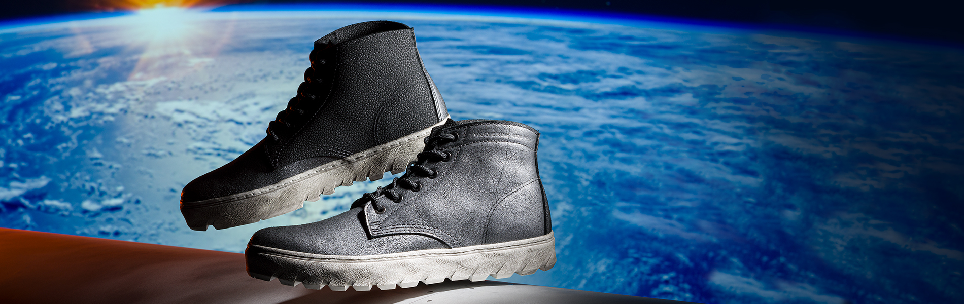 High profile UFO sneakers on a lunaresque background.